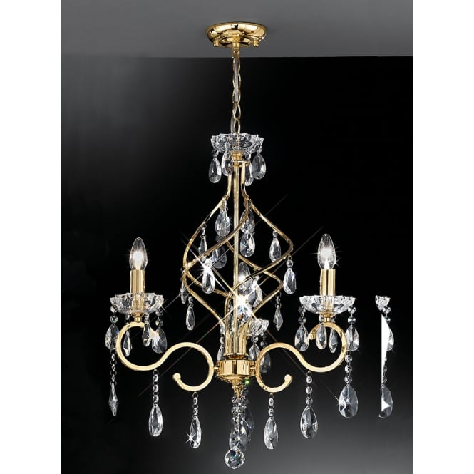 Franklite Chiffon gold crystal drops and sconce 3 light chandelier