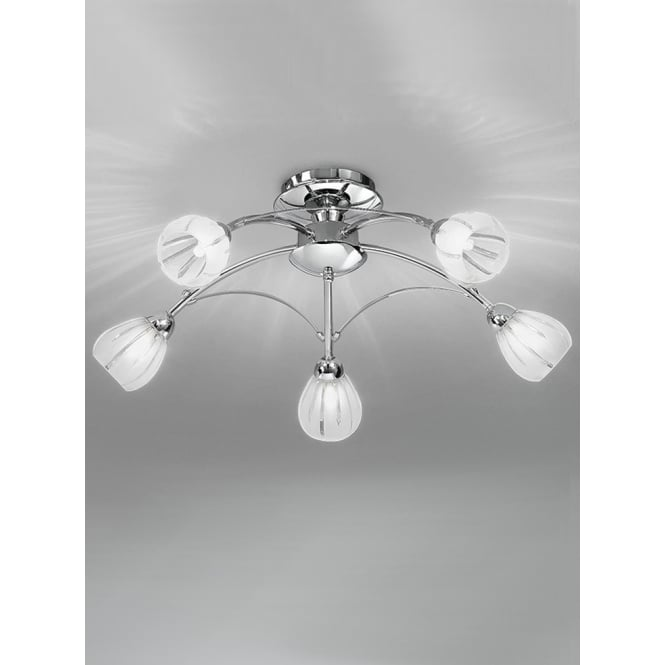 Franklite Chloris polished chrome flush glass ceiling 5 light