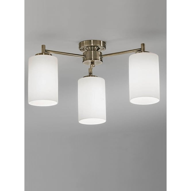 Franklite Decima bronze finish glass down ceiling 3 light