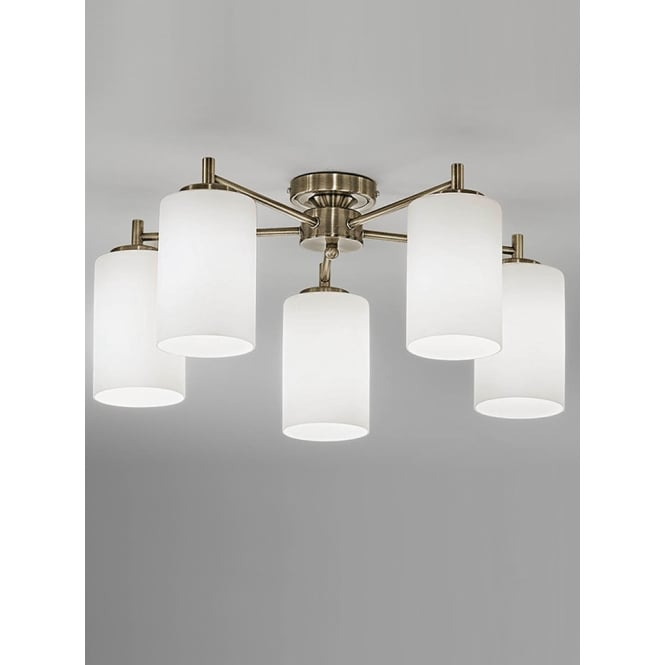 Franklite Decima bronze finish glass down ceiling 5 light