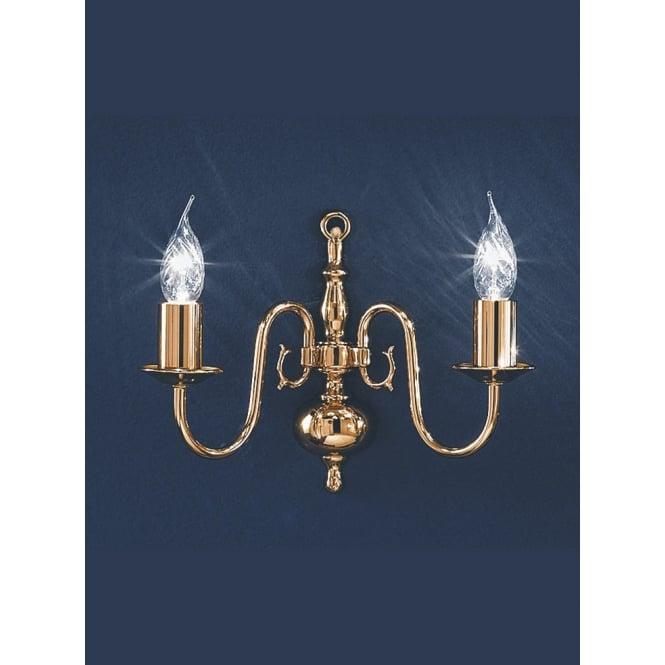 Franklite Delft polished brass 2 candle wall light