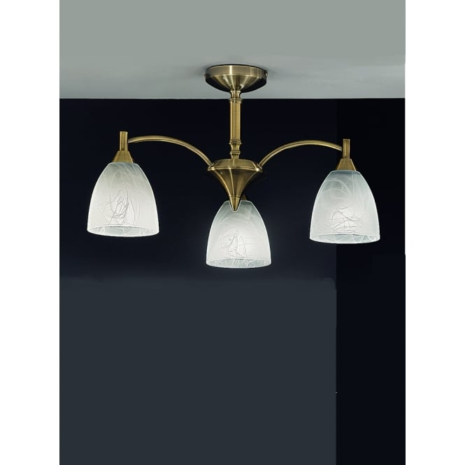 Franklite Emmy 3 light bronze alabaster effect glass ceiling light