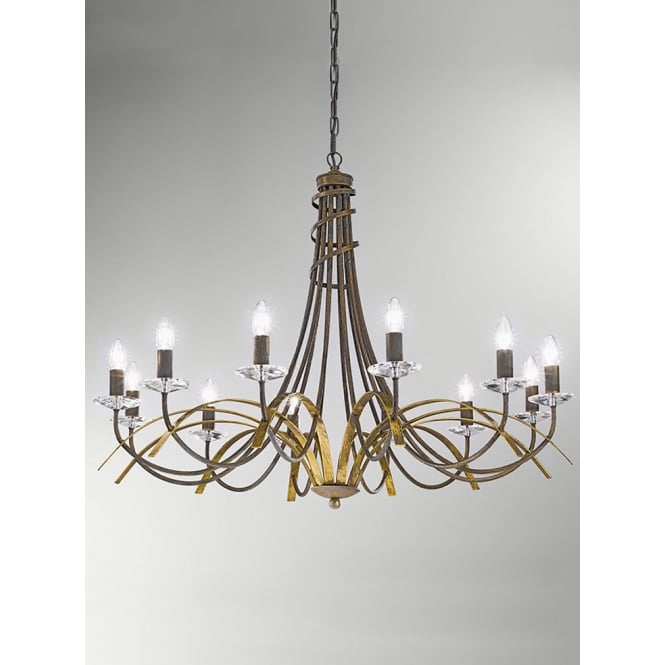 Franklite Fusion antique gold finish crystal 12 light chandelier