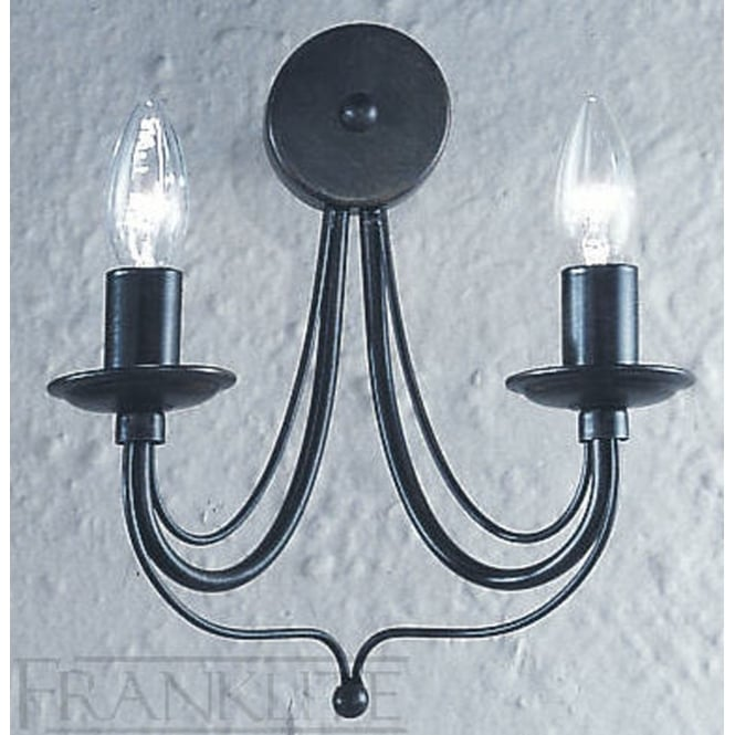 Franklite Gemini antique bronze finish 2 candle wall light