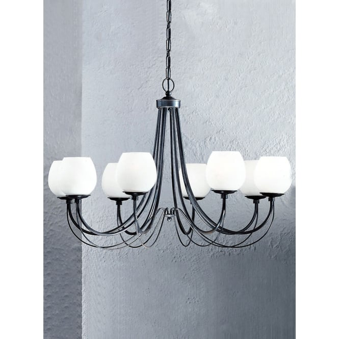 Franklite Gemini antique bronze finish 8 glass shades chandelier
