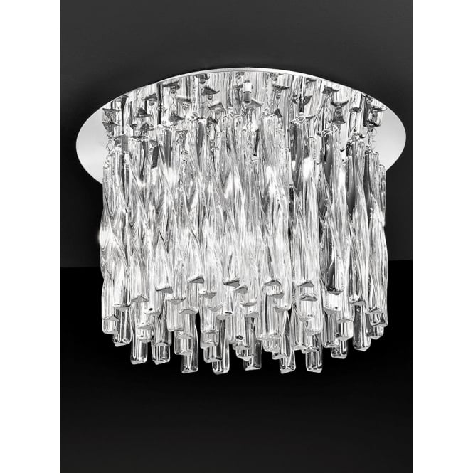 Franklite Glacial 500mm Twisted clear glass flush ceiling 8 light