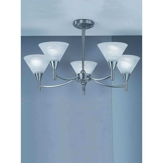 Franklite Harmony satin nickel finish 5 glass semi flush ceiling light