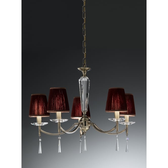 Franklite Hera bronze faceted crystal glass 5 light chandelier
