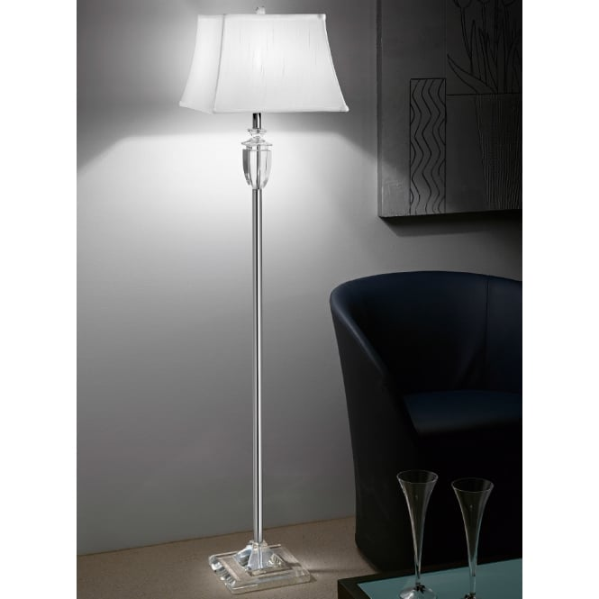 Franklite Hugo polished chrome glass detail floor stand
