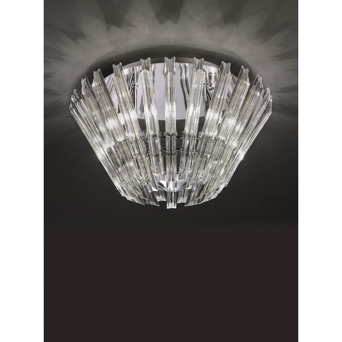 Franklite Imagine concave angle cut crystal glass rods ceiling 6 light