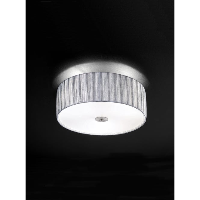 Franklite Lucera satin nickel silver fabric shade flush ceiling light