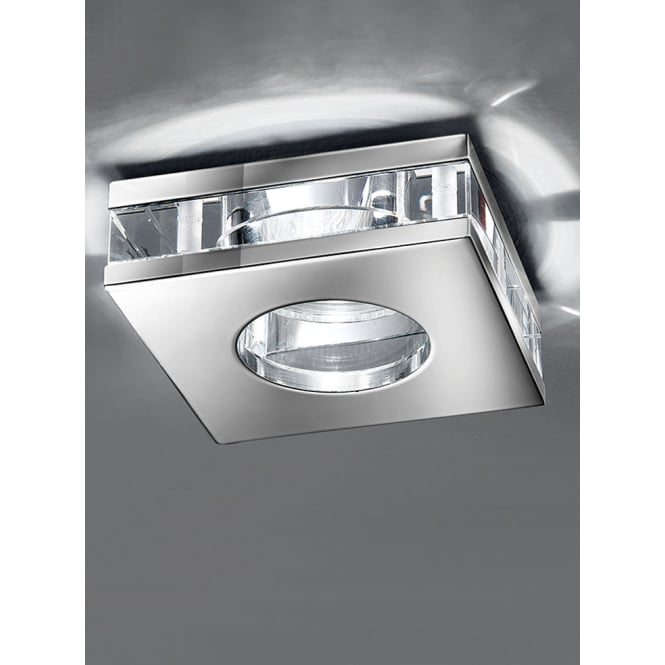 Franklite LV chrome finish crystal clear glass square downlight