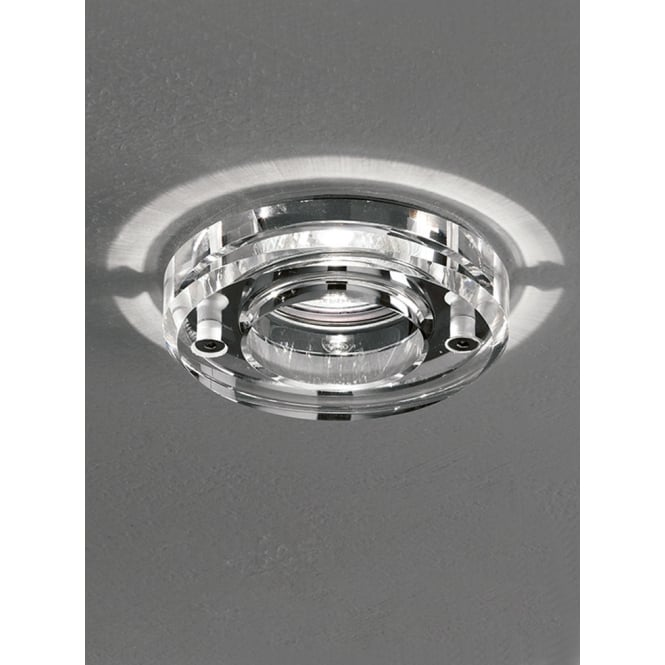 Franklite LV polished chrome crystal clear glass downlight 65mm