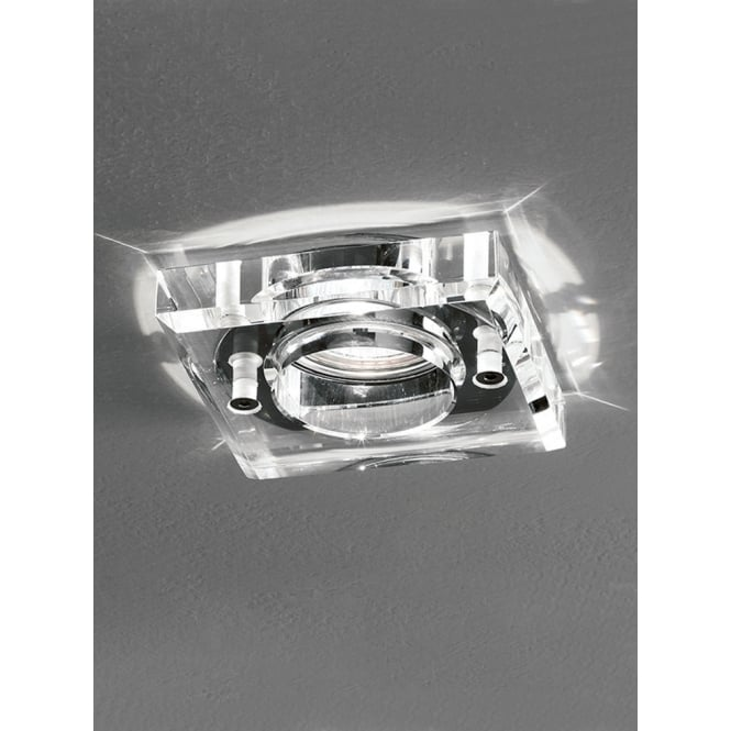 Franklite LV polished chrome crystal clear glass square downlight