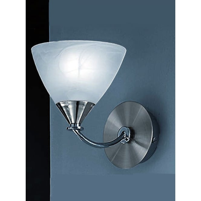 Franklite Meridian brushed nickel finish glass shade wall light