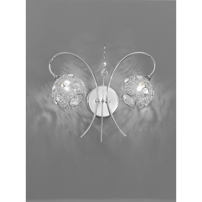 Franklite Orion polished chrome finish crystal wall 3 light