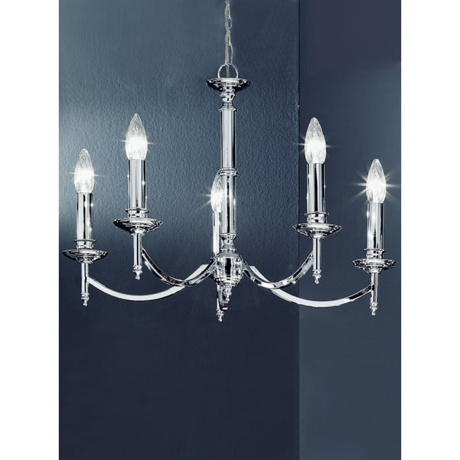 Franklite Petrushka 5 light polished chrome chandelier