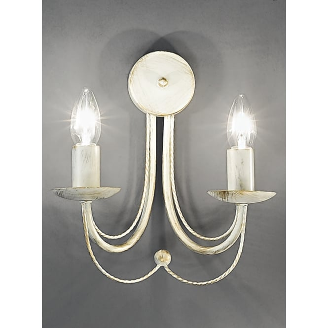 Franklite Philly cream gold finish 2 candle wall light