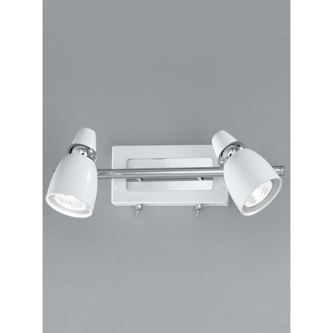 Franklite Pixon white and chrome finish adjustable wall 2 Spotlight