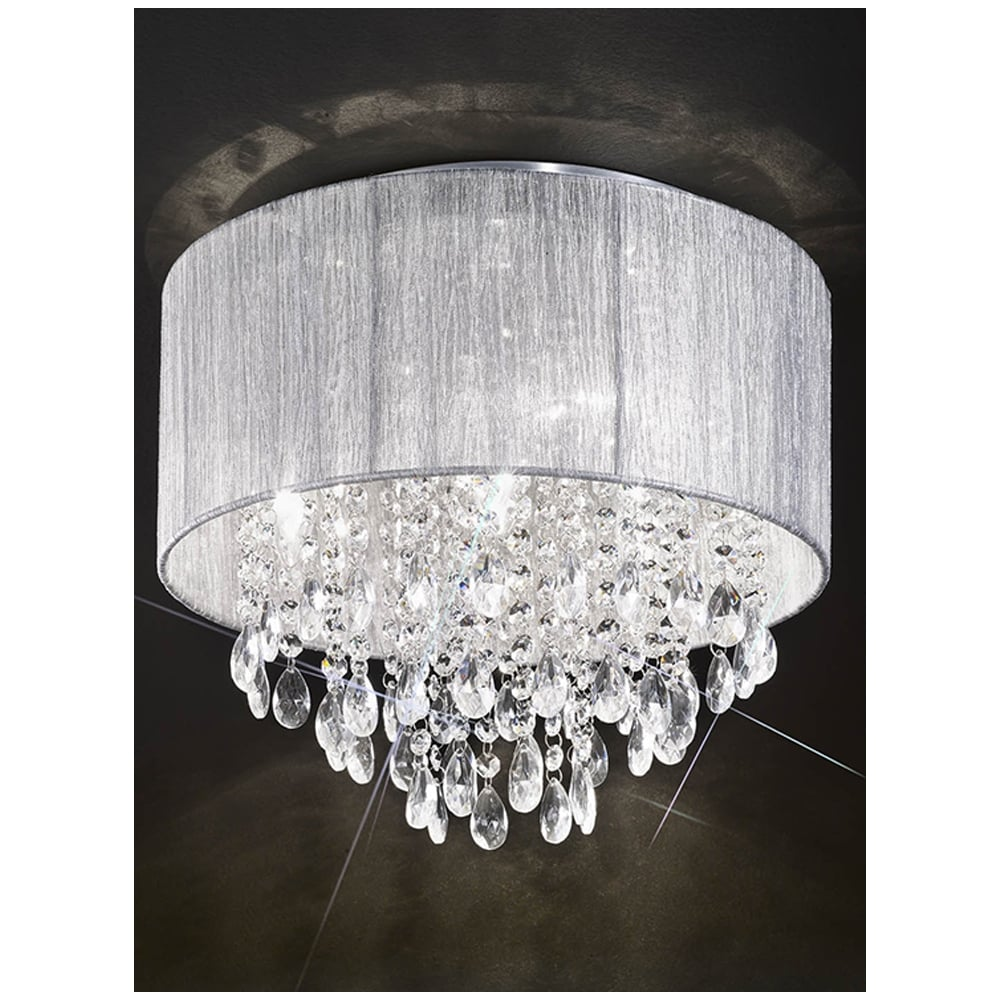 new style 8f65d 2e74b Royale Flush polished chrome crystal droplet ceiling light