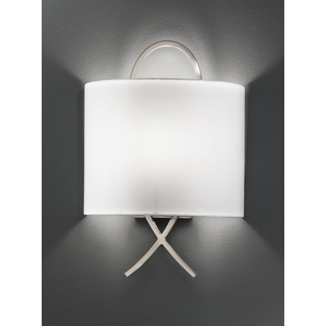 Franklite satin nickel finished cross wall light with shade