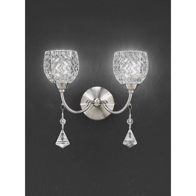 Franklite Sherrie cut glasses and faceted crystal drops wall 2 light