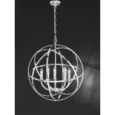 Zany polished chrome finish 6 light pendant