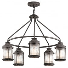 Ashland Bay 5 Light Outdoor Chandelier  In Weathered Zinc Finish