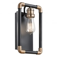 Imahn 1 Light Wall Light In Black And Natural Brass Finish